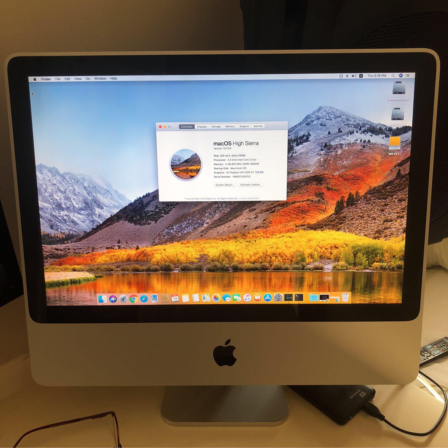 "iMac-20""-running-10.13.6-high-Sierra- - יד 2"