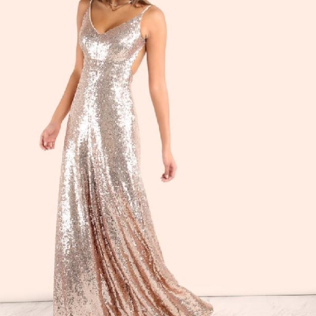 שמלת-ערב-מנצנצת-rose-gold - יד 2